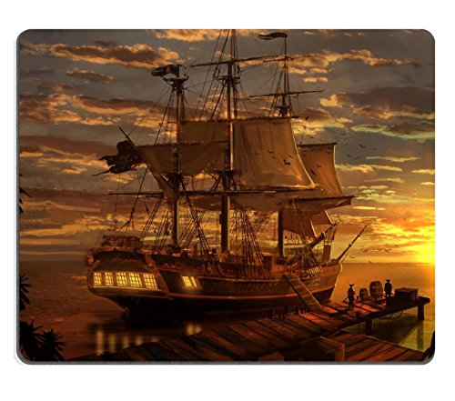 MSD Mouse Pad Natural Rubber Mousepad Image of Ship sea Boat sail Water Ocean Vessel Nautical Old Travel Sailboat Transportation Navigation Transport Wave