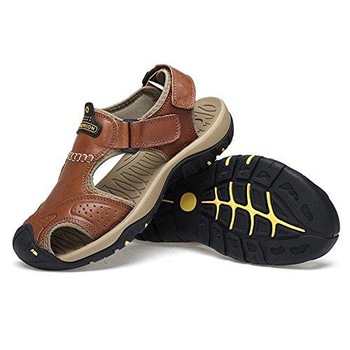 Aire del Deportes De Cerrado Los Zapatos Libre La De Verano Dedo Zapatos Los del Pie Hombres Brown Playa Casuales del Al De De del Cuero Sandalias Senderismo EwPfzngqz