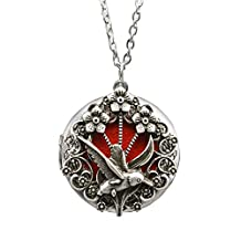 TOKYO-T Bird Necklaces for Women Locket Pendant Hummingbird Gothic Victorian