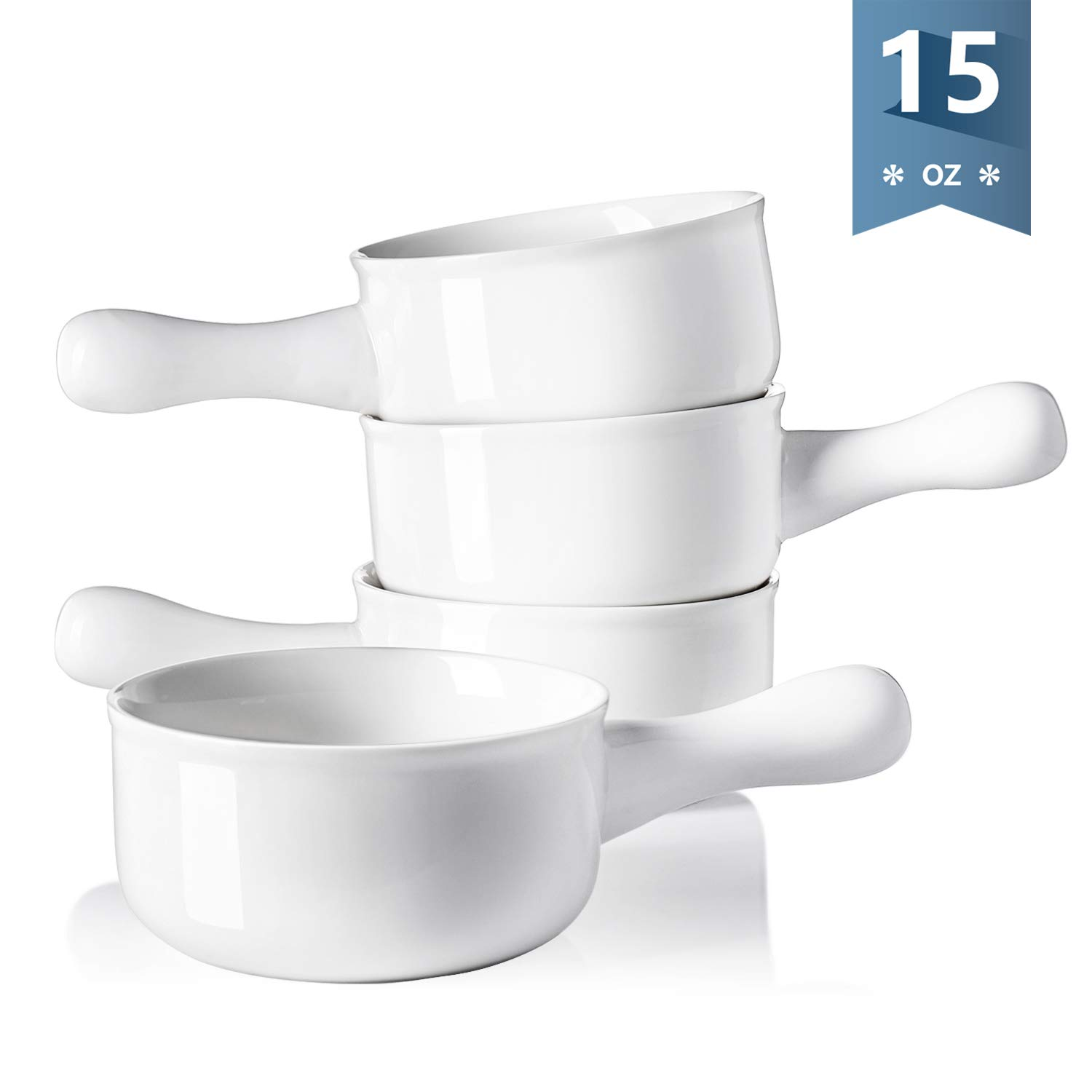 Sweese 1314 Porcelain Onion Soup Bowls with Handles - 15 Ounce for Soup, Cereal, Stew, Chill, Set of 4, White