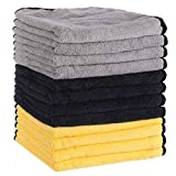 MATCC Microfiber Cleaning Cloths 12 Pack Premium Microfiber Towels for Cars Detailing Or Drying Towels for Cleaning Car Windows Dishes 16'' x 16''