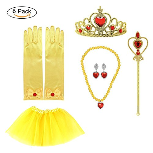 Belle 2 Piece Costumes (Rybozen Princess Belle Yellow Dress up Party Costume Accessories 6 set Crown Scepter Necklace Earrings Gloves and draped skirt)