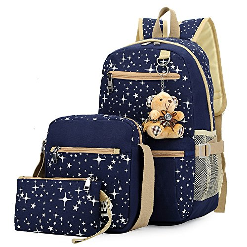 3 Pieces Set Lightweight Teen Girls School Laptop Backpack Canvas Shoulder Bag (3 Backpack)