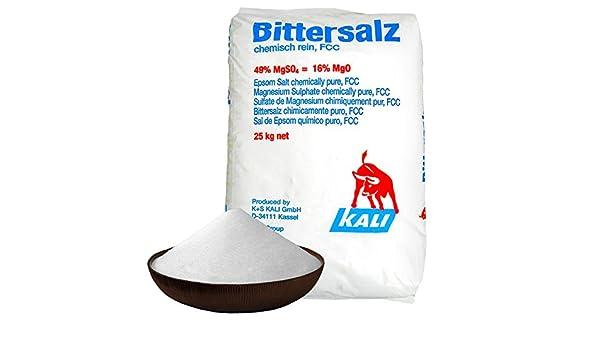 Sales de Epsom (sulfato de magnesio) | BP/FCC/grado alimenticio | 25 kg: Amazon.es: Jardín