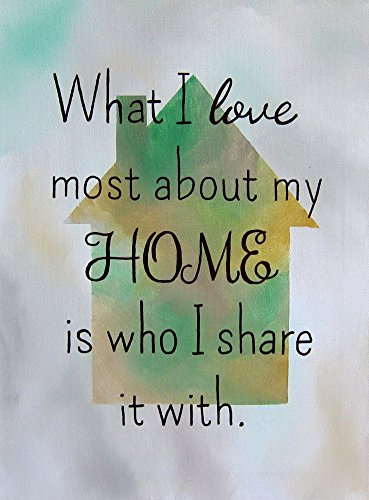 8x10 Art Print What I Love Most About My Home is Who I Share it With Family Quotes Wall Decor
