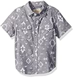 Lucky Brand Toddler Boys' Short Sleeve Chambray Button Down Shirt, Blue Nights Ikat, 4T