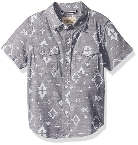 Lucky Brand Boys' Toddler' Short Sleeve Chambray Button Down Shirt, Blue Nights Ikat, 4T