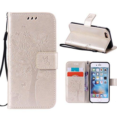 """iPhone 6 / 6S Schutzhülle , LH® (Gold Kontext) Schmetterling Baum Flip PU Ledertasche Ständer Schale Tasche Hülle Case Cover mit Kreditkartensteckplätze für Apple iPhone 6 / 6S 4.7"""""""