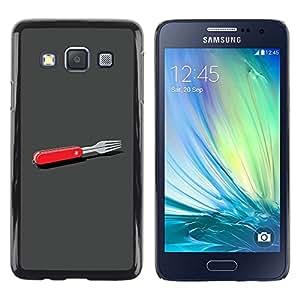 Alimentos Arte Pintura Plato Moderno- Metal de aluminio y de pl¨¢stico duro Caja del tel¨¦fono - Negro - Samsung Galaxy A3