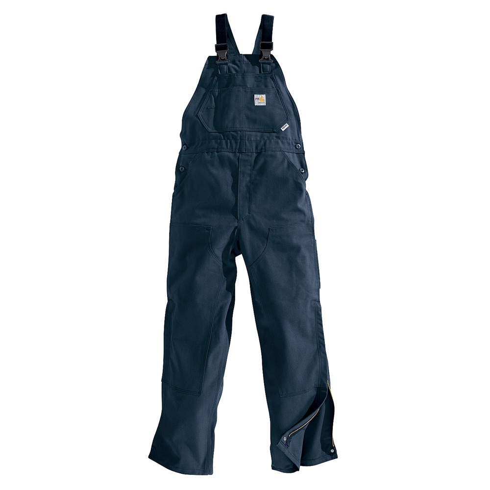 Carhartt 38'' X 34'' Dark Navy 13 Ounce Cotton Duck Flame Resistant Bib Overalls With Elastic Suspenders, High Temperature Nylon Center-Release Buckles, Chap Style Double Front And Ankle-To-Mid-Thigh Brass Leg Zippers