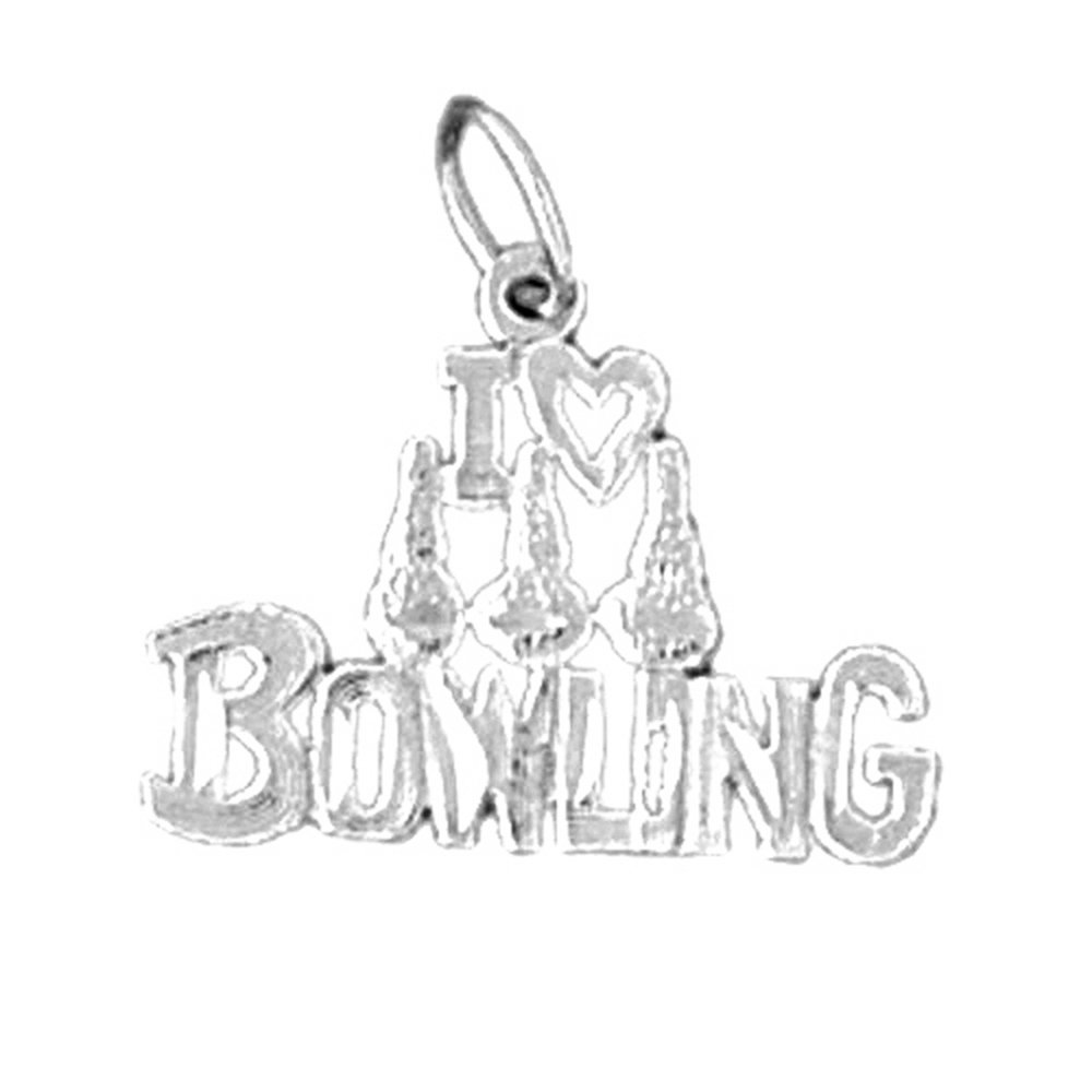 Rhodium-plated 925 Silver I Love Bowling Saying Pendant with 24 Necklace Jewels Obsession Saying Necklace