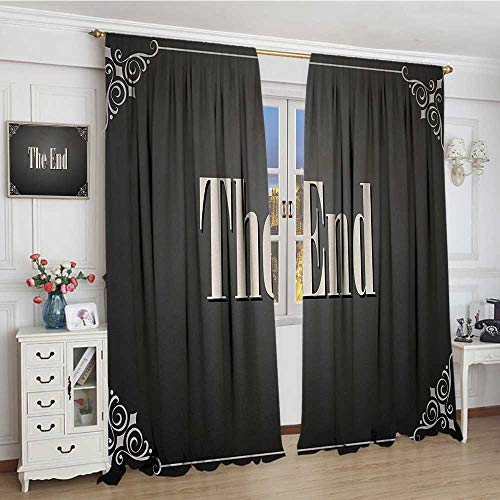 """youpinnong Movie Theater Thermal Insulating Blackout Curtain The End Quote with Swirled Frame on an Abstract Ombre Background Patterned Drape for Glass Door 72""""x96"""" Charcoal Grey Cream"""