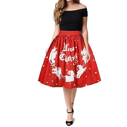 Beikoard_Navidad Mujer Casual Navidad Santa Flare Elástico Alta Cintura Cosplay Ball Vestido Falda,Beikoard Letra