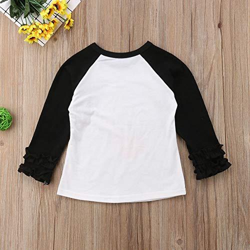7953216d Baby Girls Halloween Long Sleeve Pumpkin Printed Ruffles T-Shirt Tops  Clothes Outfits (1