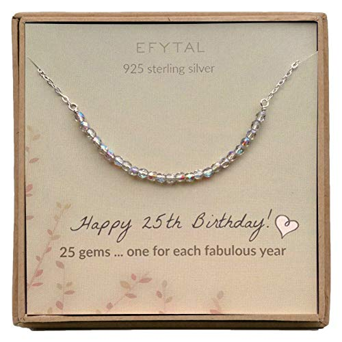 EFYTAL 25th Birthday Gifts for Women, Sterling Silver Necklace, 25 Beads for 25 Year Old Woman Jewelry Gift Idea (Birthday Gift Ideas For 25 Year Old Female)