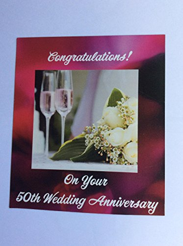 50th Wedding Anniversary Magnet with Champagne -