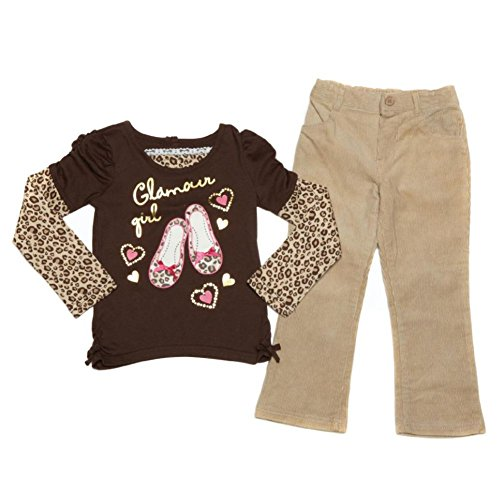 Young Hearts Infant Toddler Girls Glamour Girl Shirt Tan Corduroy Pants Set 12m ()