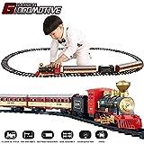 TEMI Electronic Classic Railway Train Sets w/ Steam Locomotive Engine, Cargo Car