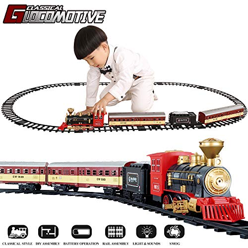 Christmas Tree Trains Sets (TEMI Electronic Classic Railway Train Sets w/ Steam Locomotive Engine, Cargo Car and Tracks, Battery Operated Play Set Toy w/ Smoke, Light & Sounds, Perfect for Kids, Boys & Girls,)