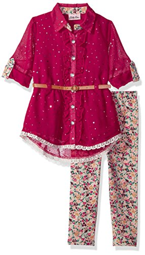 Little Lass Toddler Girls' 2 Pc Floral Legging Set Sparkle, Wine, 3T -