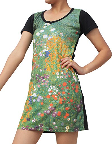 RaanPahMuang Gustav Klimt Garden In Flower Black Sleeve Dress, Small