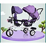 QXMEI Children's Tricycle Twins Trolley Double Baby Bike Baby Light Cart 1-7 Bicycle,Pink