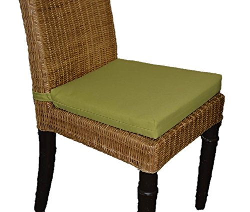 Set of 6 - In / Outdoor Soho Rattan Wicker / Banana Leaf / Seagrass Parson Chair Trapezoid Foam Seat Cushion w/ Velcro Strap - Solid Kiwi Green - 17'' Across X 15 1/2'' Deep X 14'' Across the Back by Resort Spa Home Decor (Image #3)