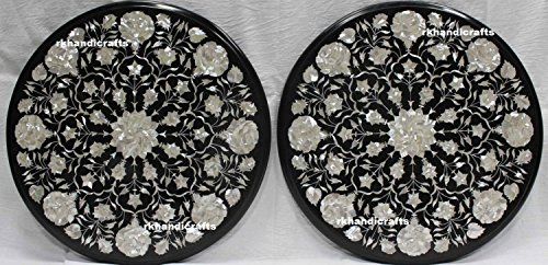 rkhandicrafts 18'' Round Black Marble Set of 2 Pieces Set Mother of Pearl Stones Sofa Table Top 18' Mother Of Pearl