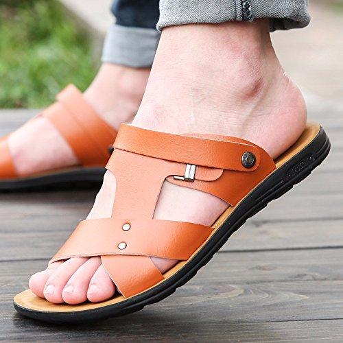 Il nuovo Uomini Tempo libero pelle sandali Spessore inferiore Uomini scarpa estate traspirante tendenza Spiaggia scarpa Uomini gioventù ,Marrone 1,US=9,UK=8.5,EU=42 2/3,CN=44