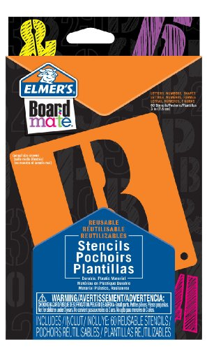 ELMERS Board Mate Reusable Jumbo Plastic Stencils, Letters, Numbers, Shapes - Pack of 60 (E3071M)