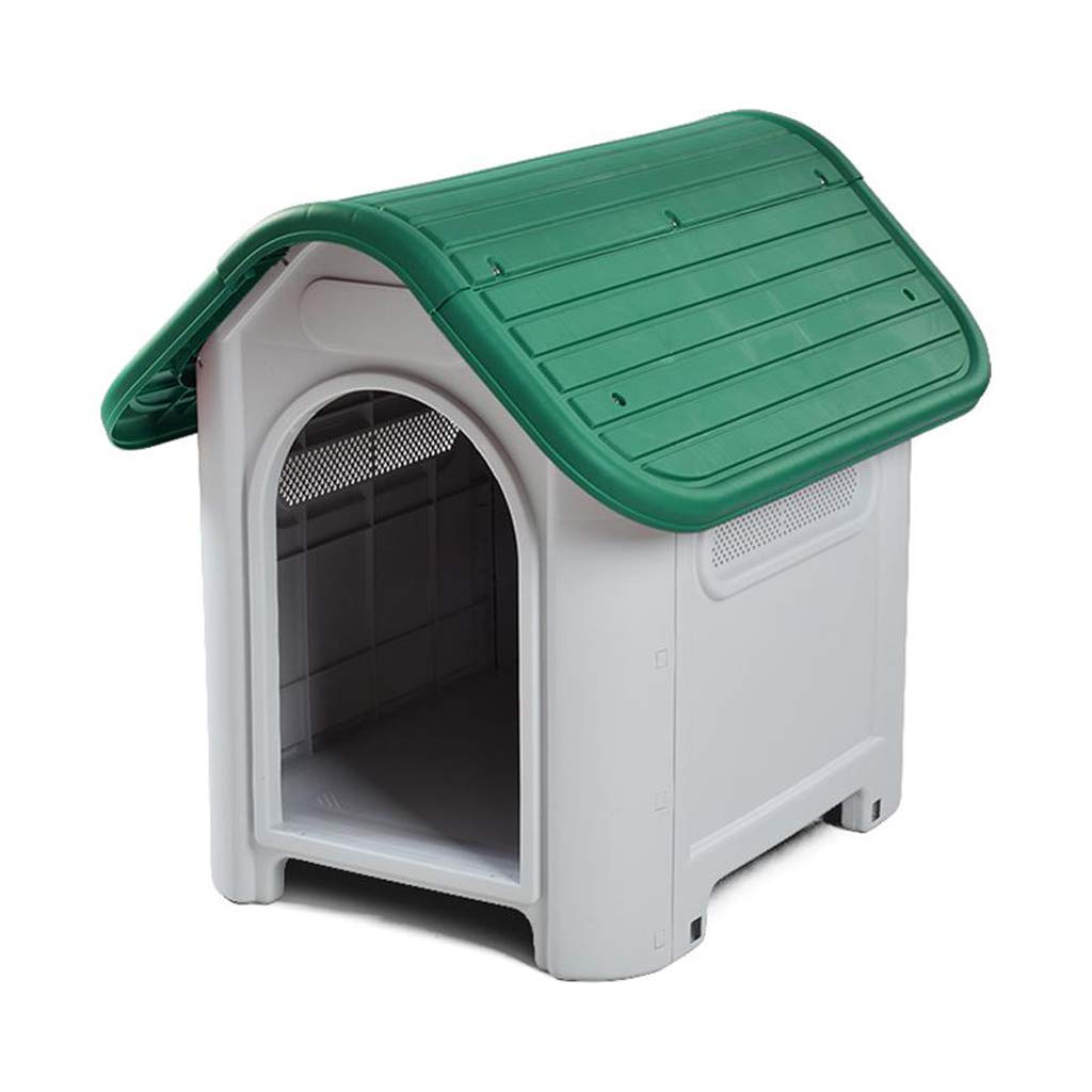 Outdoor Waterproof Sunscreen Dog House Medium Dog Samoyed Side Grazing Detachable Outdoor Waterproof Breathable Plastic Kennel (color   Green, Size   L)