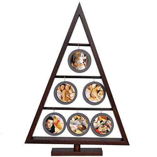 Wood Picture Frame - Christmas Family Tree - Hanging Six Mini Round Acrylic Frames (Walnut)