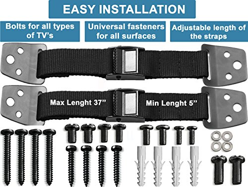 METAL Anti Tip Furniture Kit, TV Safety Straps For Flat Screens, 4 PACK BLACK Furniture Anchors For Baby Proofing, Mounting - Eartquake Straps, Straps For TV, Child Proof Childproof Television Antitip by FamilyCare (Image #2)