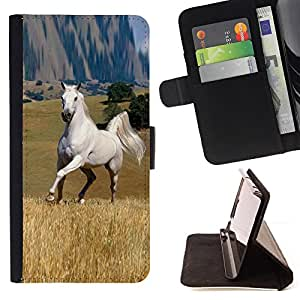 Mustang Horse Steppe Great Wild Outback Freedom - Painting Art Smile Face Style Design PU Leather Flip Stand Case Cover FOR LG G2 D800 @ The Smurfs