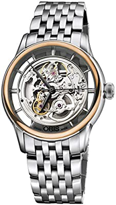 Oris Artelier Translucent Skeleton Automatic Steel & 18k Rose Gold Mens Watch 734-7684-6351-MB