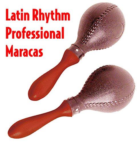 Performance Plus LP288 Latin Rhythm Black Maracas with Hard Rock Wood Handles (Wood Guiro Shaker)