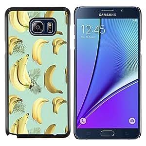 Stuss Case / Funda Carcasa protectora - Plátano Teal Amarillo Fruta Patrón Tropical - Samsung Galaxy Note 5