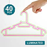Realcozy Premium Luminated Children's Hangers, 11.4 Inch Length plastic hangers - Durable,Non Slip & Space Saving Small Clothes Hangers for Baby,Kids and Nursery 0-8 Years Old Pack of 40 (Pink)