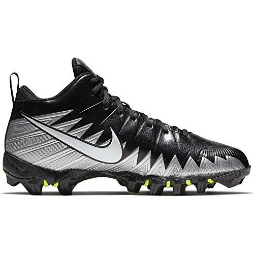 9a11783b12b Nike Men s Alpha Menace Shark Football Cleat Black Metallic Silver White  Size 8 M US
