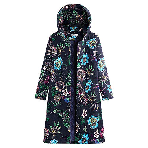 vermers Women Plus Size Vintage Jacket Hooded Outerwear Casual Ladies Fleece Thicken Coats Button Printed Long Coat(US:14/3XL, Black) -