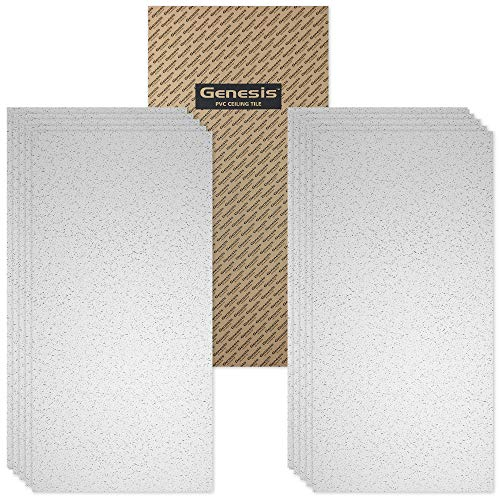 Genesis Easy Installation Printed Pro Lay-in White Ceiling Tile/Ceiling Panel, Carton of 10 (2' x 4' Tile)