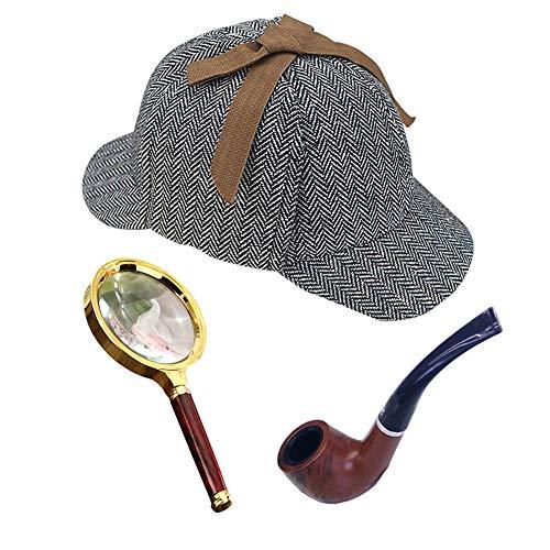 BooW Detective Costume Accessories Deerstalker Hat Pipe Magnifier Glass Detective Cosplay Prop (Child, Herringbone Set-3pcs) ()