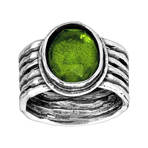Silpada 'Daintree' 5 ct Natural Green Quartz Ribbed Ring in Sterling -