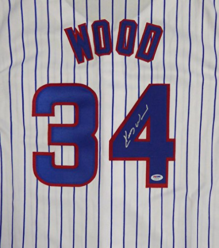 Chicago Cubs Kerry Wood Autographed White Jersey PSA/DNA Stock #107885 Chicago Cubs Kerry Wood