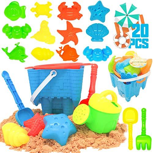 🥇 KIDPAR 20 Pcs Beach Sand Toys Set for Kids