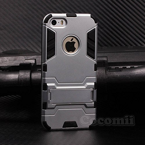iPhone SE / 5S / 5C / 5 Case, Cocomii Iron Man Armor NEW [Heavy Duty] Premium Tactical Grip Kickstand Shockproof Hard Bumper Shell [Military Defender] Full Body Dual Layer Rugged Cover Apple (Silver)