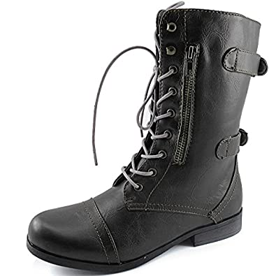 Women's Evan-10 Ankle Zipper Strap Military Combat Boots 9 B(M) US