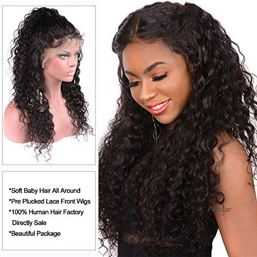 Brazilian Human Hair Lace Front Wigs with Baby Hair Pre Plucked Human Hair Wigs For Black Women Wet and Wavy Water Wave Curly Lace Front Wigs 13x4 Lace Frontal Wigs 10 inch]()