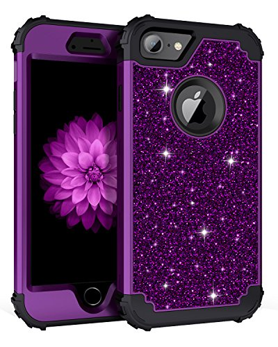 Lontect Compatible iPhone 8 Case Luxury Glitter Sparkle Bling Heavy Duty Hybrid Sturdy Armor High Impact Shockproof Protective Cover Case for Apple iPhone 8 / iPhone 7 - Shiny Purple/Black