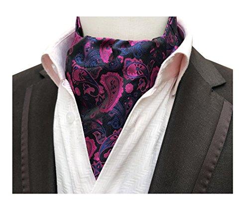 Men's Fuchsia Blue Paisley Floral Silk Ascot Ties Cravat Woven Novelty Neckties ()